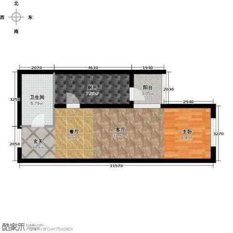 天津和平时光1厅1卫1厨55.00㎡户型图