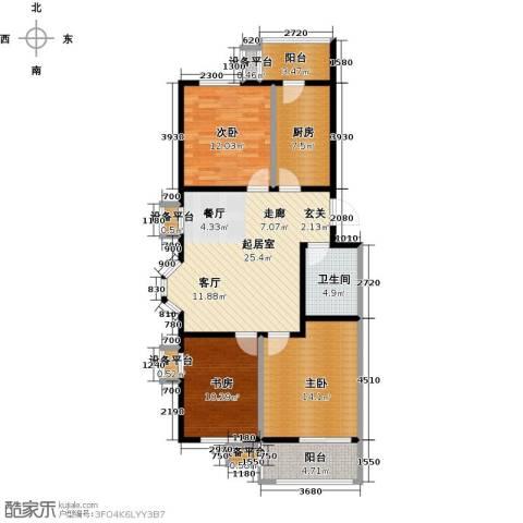美茵小镇3室0厅1卫1厨120.00㎡户型图