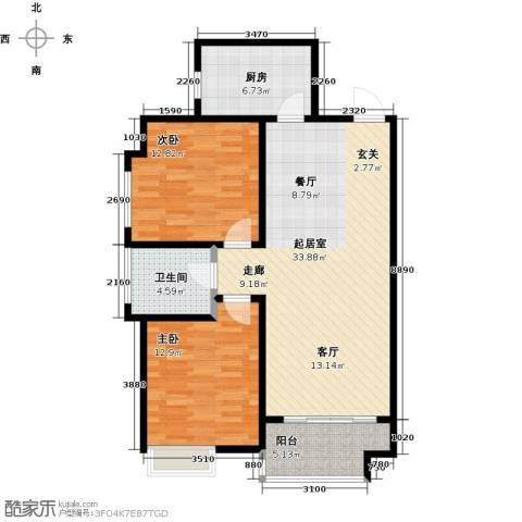 帝景国际2室0厅1卫1厨85.00㎡户型图