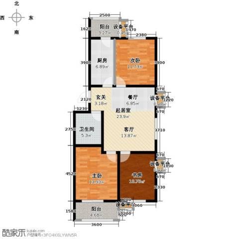 美茵小镇3室0厅1卫1厨117.00㎡户型图
