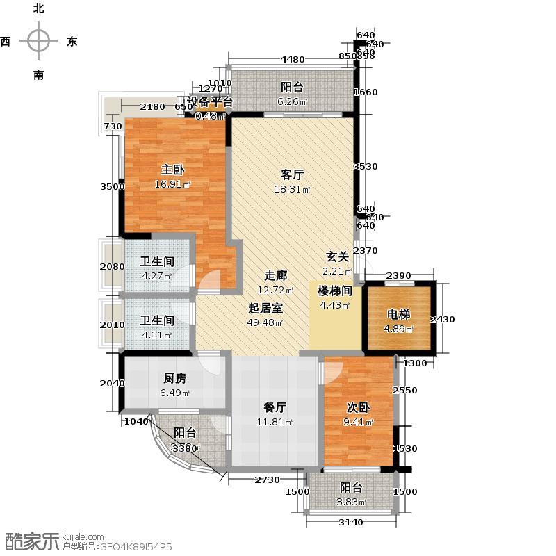 海岸金沙二期229.59㎡EF栋户型 四房二厅四卫 (跃一层)户型4室2厅4卫