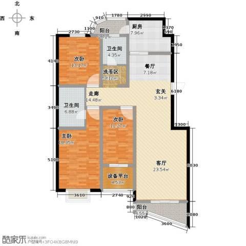 书香雅居3室1厅2卫1厨145.00㎡户型图