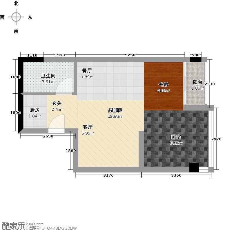 时代公馆MINI派44.00㎡26房 一室两厅一卫 44平米户型1室2厅1卫