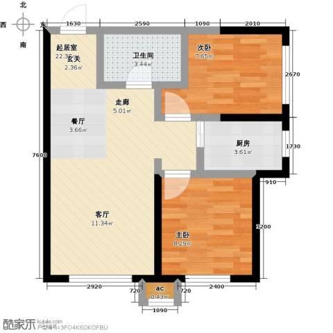 盛景公馆2室0厅1卫1厨69.00㎡户型图