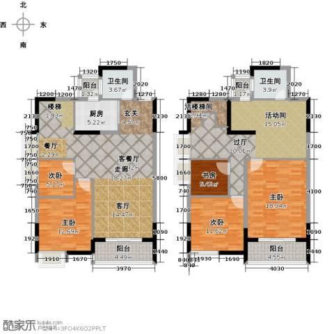 瑞�国际公馆5室1厅2卫1厨180.00㎡户型图