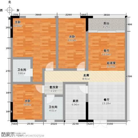 华天城市广场3室0厅2卫1厨138.00㎡户型图