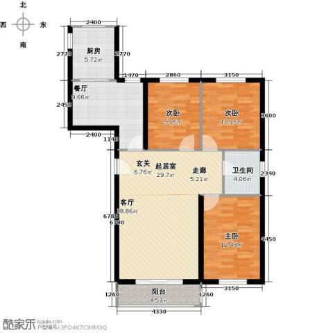 上第LOHAS3室1厅1卫1厨120.00㎡户型图