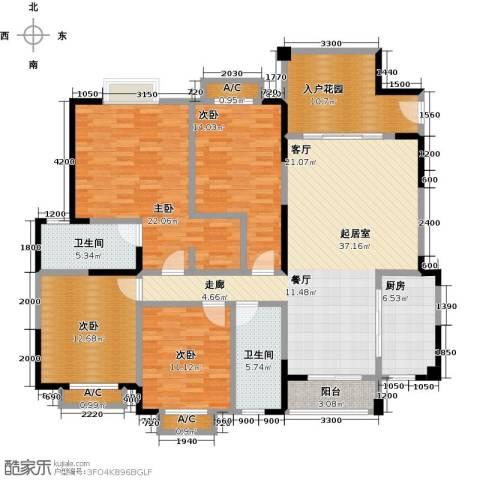 水岸名都2期4室0厅2卫1厨187.00㎡户型图