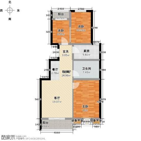 书香雅居3室1厅1卫1厨95.00㎡户型图