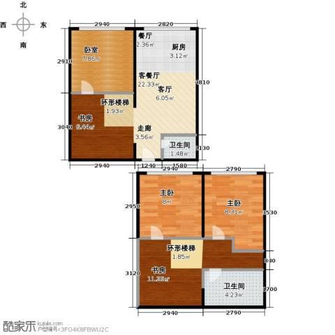 名仕公馆3室1厅2卫0厨86.00㎡户型图