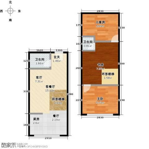 名仕公馆3室1厅2卫0厨50.00㎡户型图