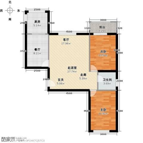 上第LOHAS2室1厅1卫1厨99.00㎡户型图