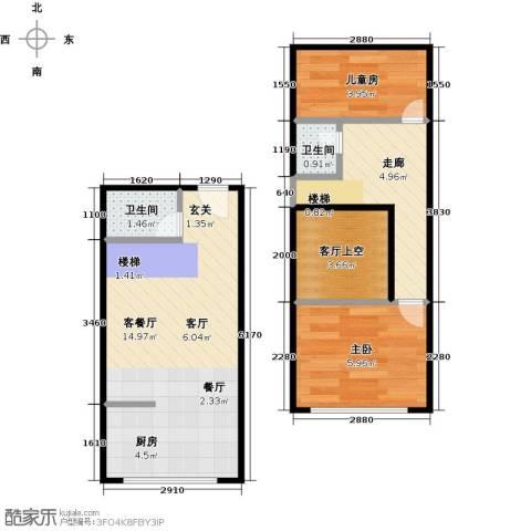 名仕公馆2室1厅2卫0厨50.00㎡户型图