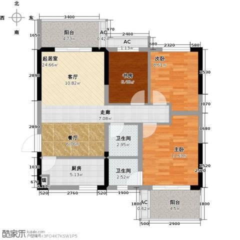 高科花漾年华3室0厅2卫1厨101.00㎡户型图
