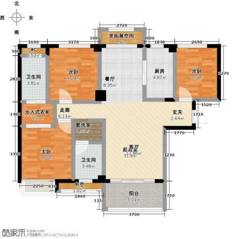 中骏四季阳光3室0厅2卫1厨121.00㎡户型图