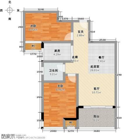 中骏四季阳光2室0厅1卫1厨94.00㎡户型图