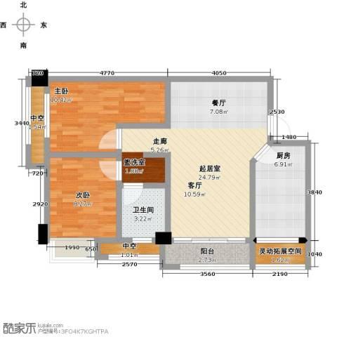中骏四季阳光2室0厅1卫1厨90.00㎡户型图