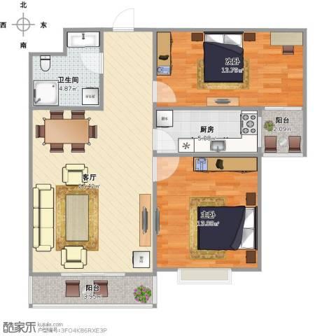 上都名苑2室1厅1卫1厨93.00㎡户型图