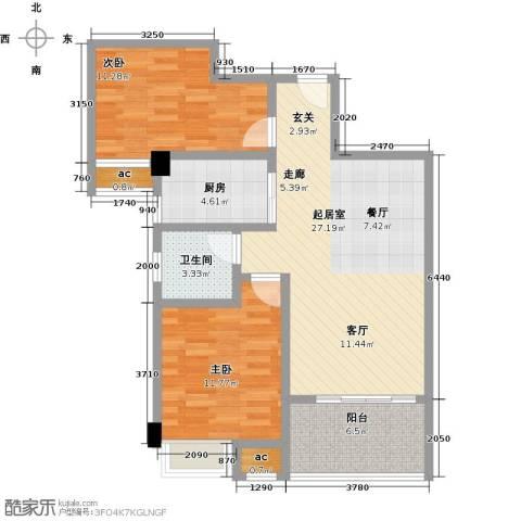中骏四季阳光2室0厅1卫1厨96.00㎡户型图