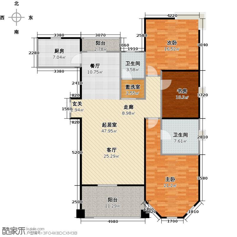世嘉国际华城二期户型3室2卫1厨