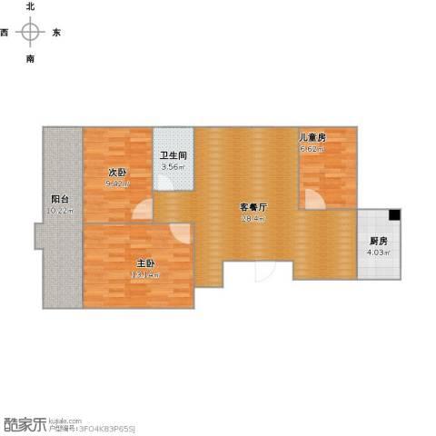 盛唐世家3室1厅1卫1厨97.00㎡户型图