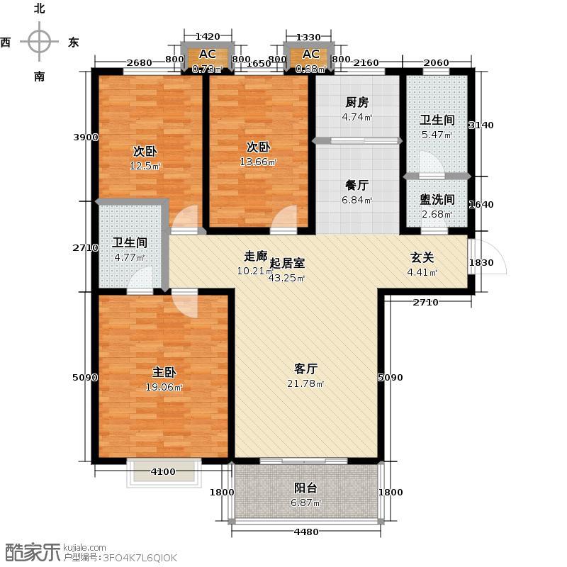 达观天下126.54平三室两厅二卫户型3室2厅2卫LL