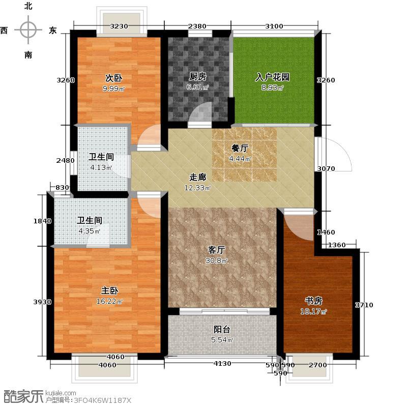 云南映象花好月圆二期E户型 3室2厅1厨2卫+入户花厅 约108-111㎡户型