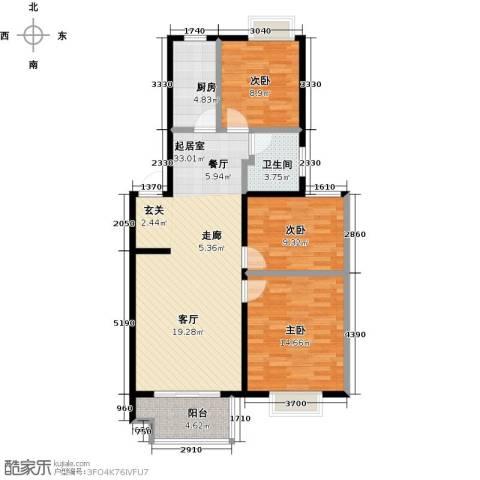 伟星玲珑湾3室0厅1卫1厨89.00㎡户型图