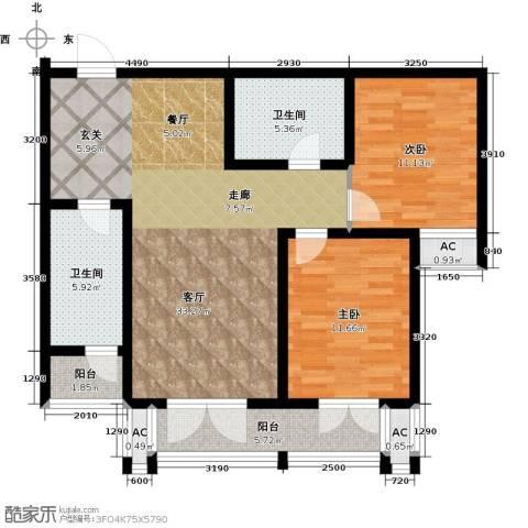天津和平时光2室1厅2卫0厨90.00㎡户型图