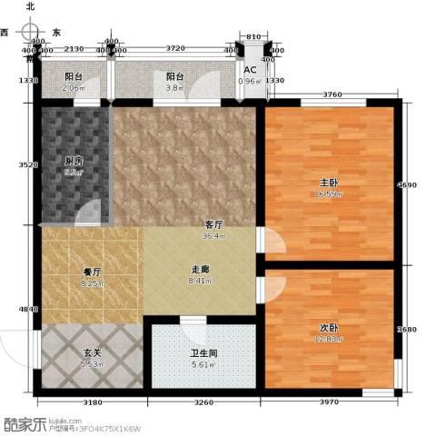 天津和平时光2室1厅1卫1厨96.00㎡户型图