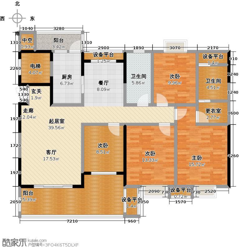 嘉华城113.49㎡35#栋A户型3室2厅2卫户型3室2厅2卫