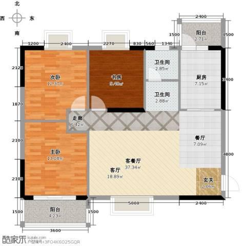 瑞�国际公馆3室1厅1卫1厨109.00㎡户型图