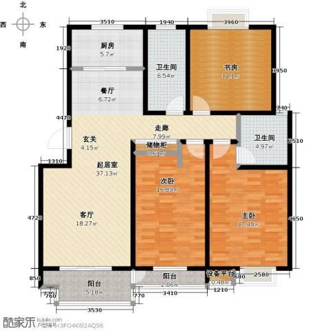 亚美国际花园3室0厅2卫1厨126.00㎡户型图