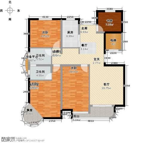 书香雅居3室1厅2卫1厨150.00㎡户型图