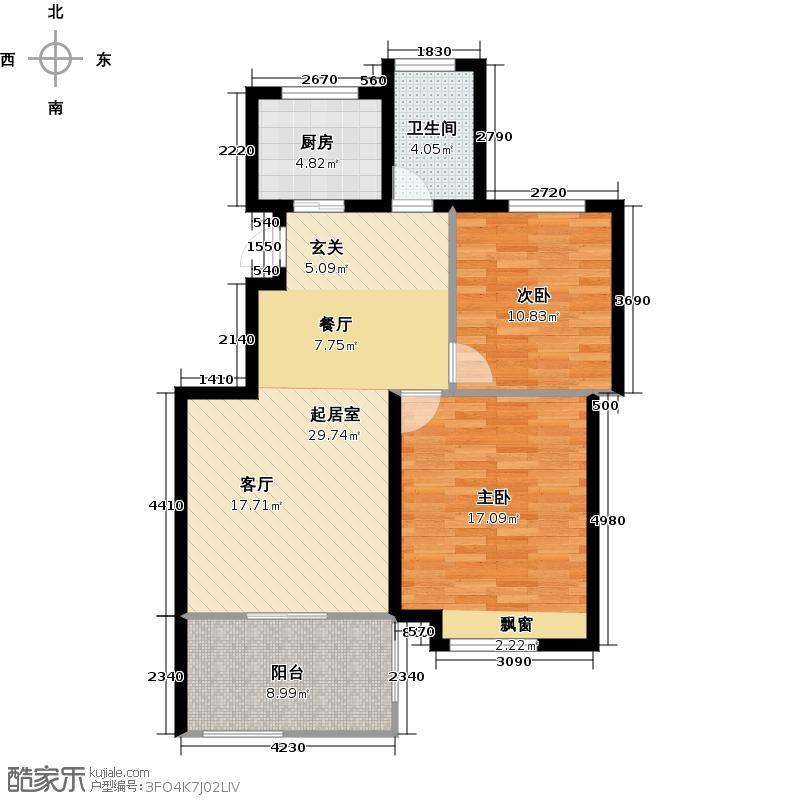 翠屏托乐嘉90.88㎡90.88㎡ 贵邻居组团E01#楼标准层F户型2室2厅1卫