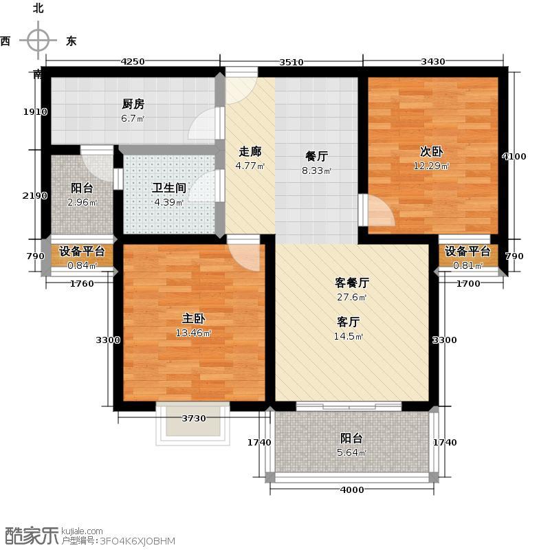 达安春之声二期80.00㎡二房二厅一卫-89平方米-16套户型