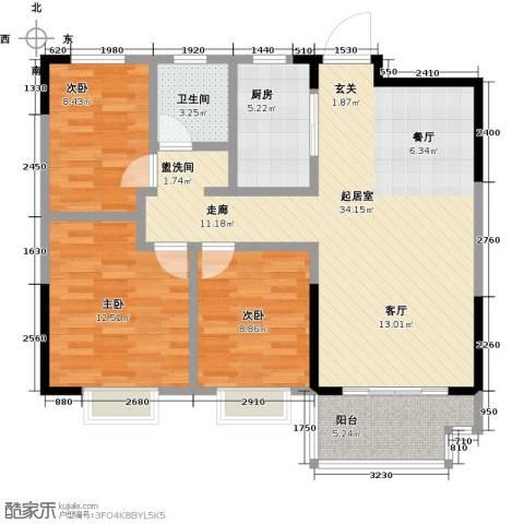 伟星玲珑湾3室0厅1卫1厨88.00㎡户型图