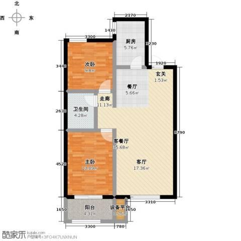 蓝钻庄园2室1厅1卫1厨85.00㎡户型图