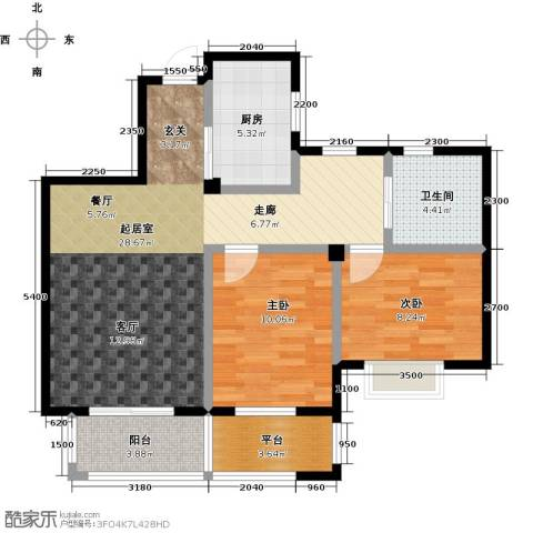 新湖保亿御景国际2室0厅1卫1厨87.00㎡户型图