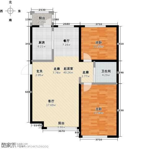 香格里拉花园2室0厅1卫1厨91.00㎡户型图