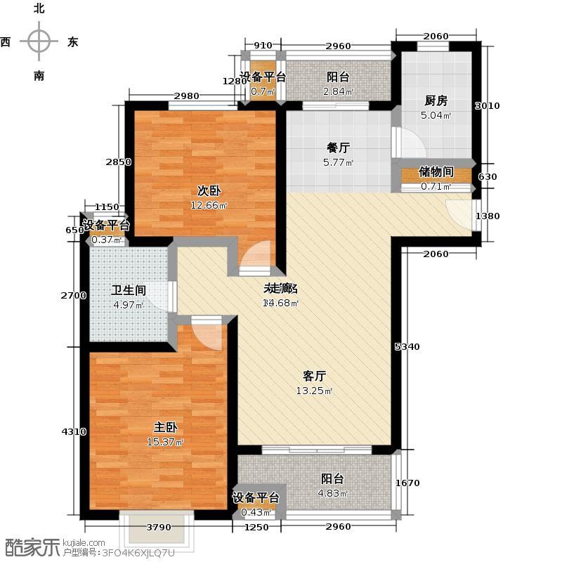 达安春之声二期90.00㎡二房二厅一卫-97平方米-17套户型