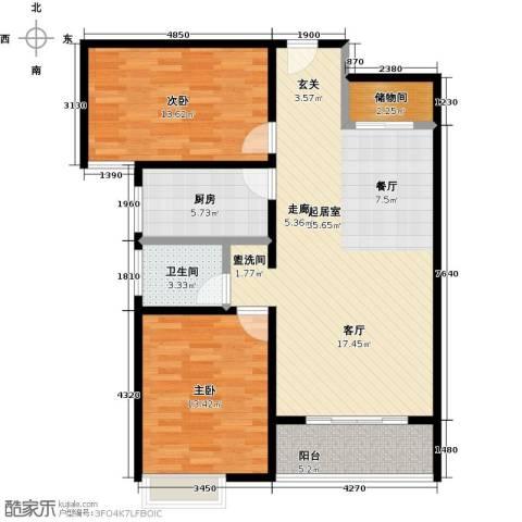 宝龙香槟湖2室0厅1卫1厨89.00㎡户型图