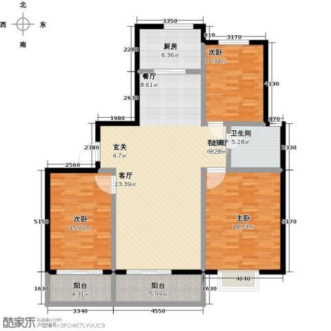蓝钻庄园3室1厅1卫1厨120.00㎡户型图