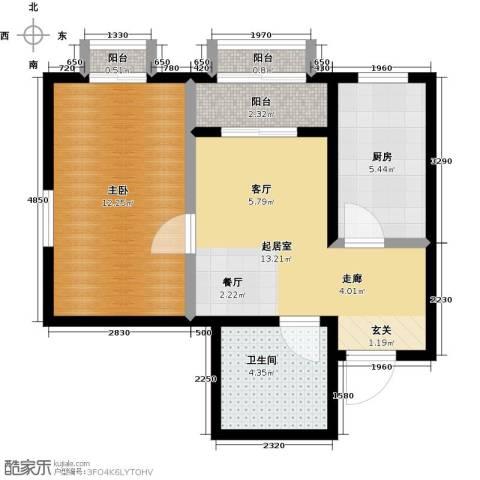 美茵小镇1室0厅1卫1厨57.00㎡户型图