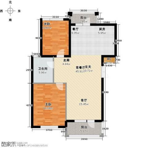 鲁能东方优山美地2室1厅1卫0厨122.00㎡户型图