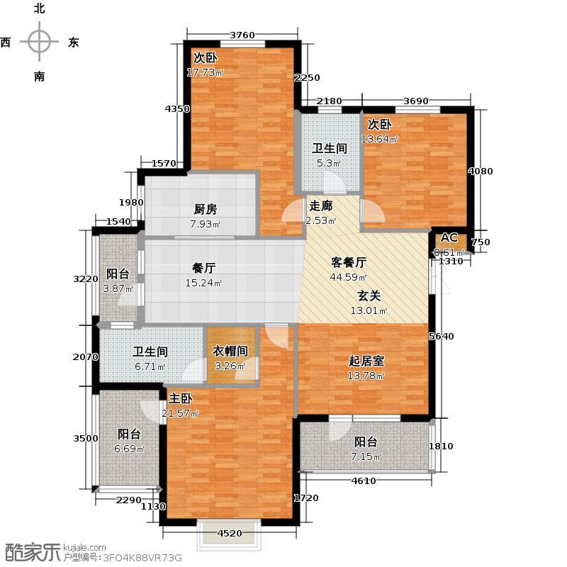 鲁能东方优山美地154.76㎡迪亚小镇洋房E户型二室二厅一卫户型2室2厅1卫