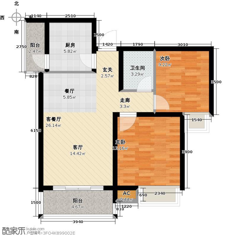 中宏新界74.14㎡E1-3户型两室两厅一卫户型