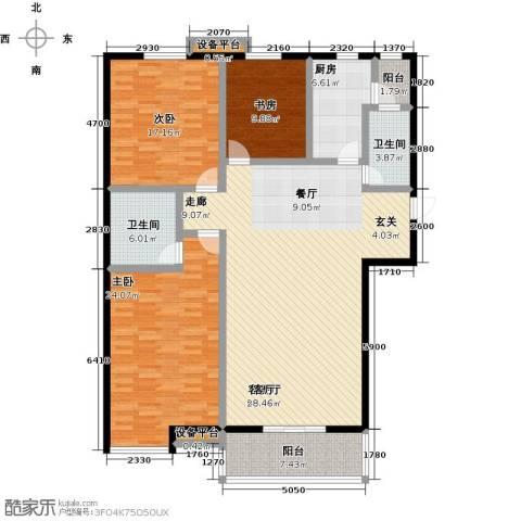 高新名门3室1厅2卫1厨146.00㎡户型图