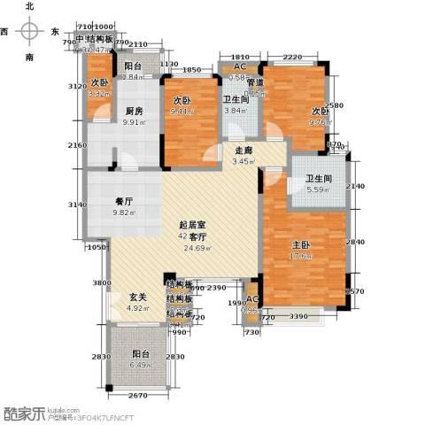 宝龙香槟湖4室0厅2卫1厨129.00㎡户型图