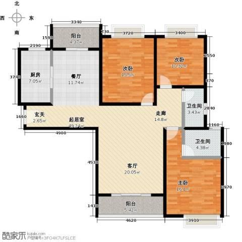 宝龙香槟湖3室0厅2卫1厨130.00㎡户型图